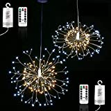 Toodour Firework Lights, 2 Packs 150 LED Warm White & White Copper Wire Fairy Lights, Waterproof, Battery Operated Twinkle String Lights with Remote for Home, Garden, Easter Decorations