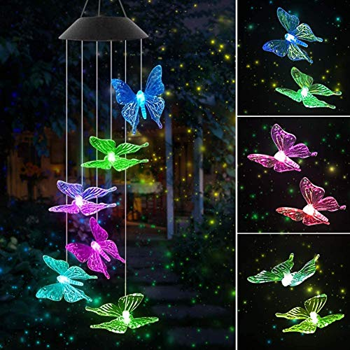 Jeopace Solar Wind Chimes,Butterfly Wind Chimes for Decoration Outdoor,Color-Changing Outdoor Waterproof Wind Chime for Yard/Garden Decoration,Gifts for Mom, Wife,Grandma,Christmas(Butterfly)