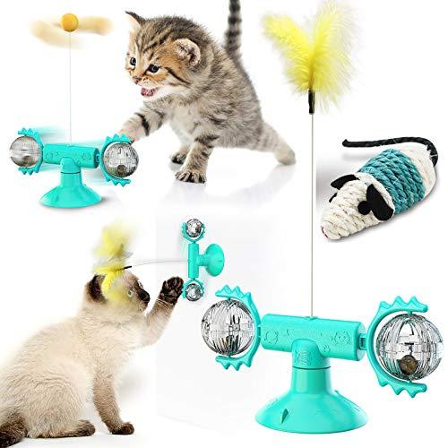feihao Windmühle Katzenspielzeug, Plattenspieler Katzenspielzeug mit Katzenminze interaktives katzenspielzeug Kratzen Tickle Cats Haarbürste Katzenbiss Puzzle katzenspielzeug mit Saugnapf-Blau