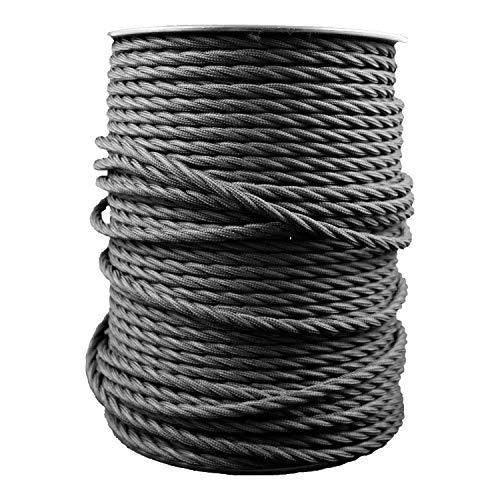 smartect Cavo elettrico Tessuto - Nero - 50 Metro cavo tessile intessuto - Tripolare (3 x 0.75mm²) - Cavo elettrico rivestito per Fai da Te