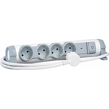 Legrand, 694651 Bases Múltiples Confort y Seguridad Regleta con 4 enchufes, Protección contra Sobretensiones, cable de 1.5 mts, 4 Tomas Corriente, color Blanco/ Gris