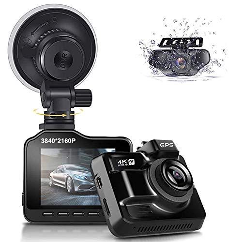 Dash Cam per Auto Wifi GPS, 4K 3840x2160p Dashcam Doppia Telecamera Anteriore Posteriore con Visione Notturna, 2.4 Pollici IPS Schermo, Grandangolare di 170°,WDR,G-Sensor e Atti Vandalici Monitore