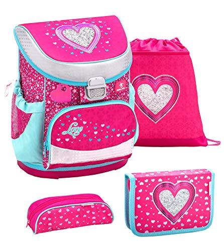 Belmil ergonomischer Schulranzen Set 4 -teilig für Mädchen 1, 2 Klasse Grundschule/Super Leicht 750-800 g/Brustgurt/Herz, Heart/Pink, Rosa (405-33 Heart)