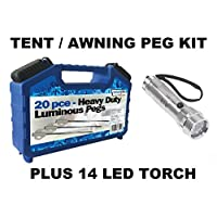 Leisurewize LWACC506 Camping Tent & Awning Glow In The Dark Pegs & Box Set - 20 Piece Kit 8