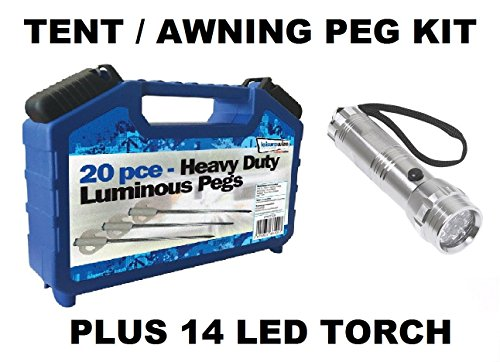 Leisurewize LWACC506 Camping Tent & Awning Glow In The Dark Pegs & Box Set - 20 Piece Kit 1