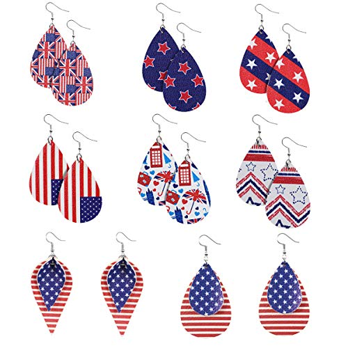 American Flag Leather Earrings for Women USA Flag Statement Drop Earrings Lightweight 4th of July...