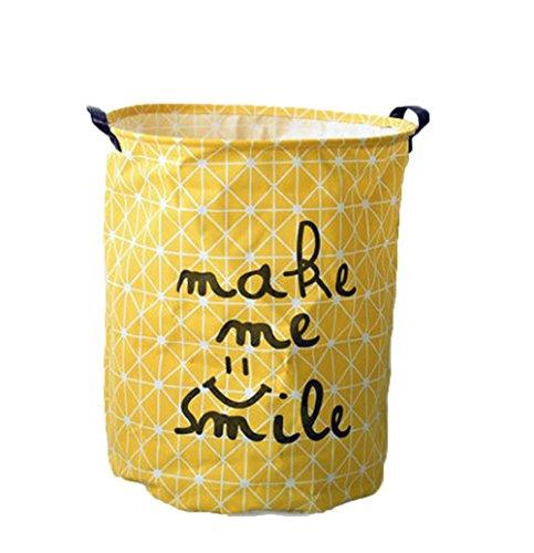DaoRier Wäschekorb Wäschetonne Wäschetruhe Wäschesammler Faltbar Wäschekübel Einfach Kinderzimmer Organizer Wäschebehälter (Gelb)
