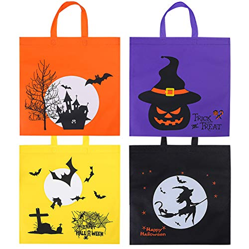 Elcoho 12 Packs 15.75 by 15.75 Inches Halloween Non-woven Bags Large Trick or Treat Bags Pumpkin Bags Tote Halloween Gift Bag with Handles for Party Favors, 4 Colors