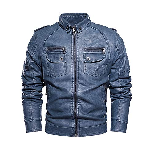 Chaqueta de piel sintética para hombre, con pliegues de invierno, para motocicleta, abrigo, con cremallera