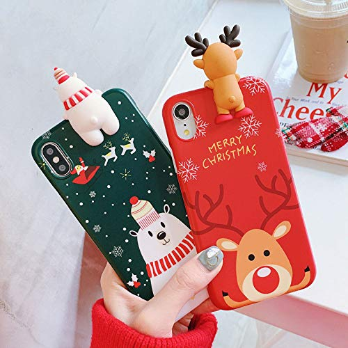 Casa Christmas Case for iPhone Xr, Merry Christmas Soft Silicone TPU 3D Cute Snowman Santa/Elk Pattern Pretty Cute Premium Flexible Protective Case Gifts for Apple iPhone Xr 6.1'' 2018 (Red)