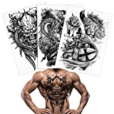 Konsait Full Back Temporary Tattoos For Men Women 3 Sheets, 18.8x13.3 inch Large Picture Fake Black Tattoos, Tribal Totem Waterproof Temporary Tattoos Realistic Body Art Decoration Tattoos Stickers