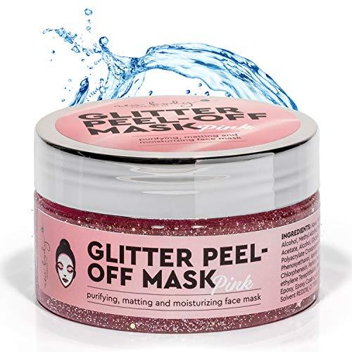 new body® Pinke Gesichtsmaske für schönere Haut - Anti Mitesser Peel of Mask mit Glitzer Effekt - Facemask spendet Feuchtigkeit & entfernt Unreinheiten