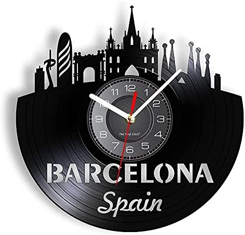 Reloj de pared con disco de vinilo, reloj de pared con horizonte de Barcelona, España, reloj de pared con iluminación de paisaje de la ciudad capital de la Sagrada Familia, regalo de viajero