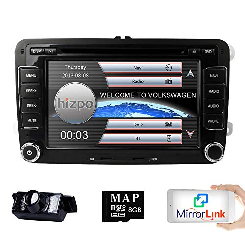 Hizpo Con Reproductor De DVD, Integrado En El Salpicadero, 17,68 Cm, Multimedia, Sistema De Apoyo De Navegación GPS, Control Remoto Del Bluetooth, Con USB, SD, FM, AM