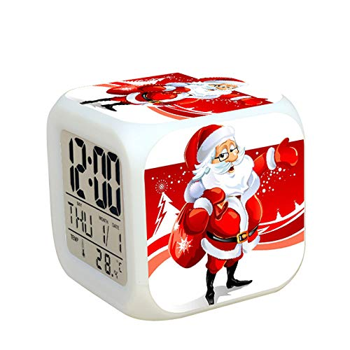 N/J Creative Gift Decorations Christmas Decorations Santa Claus Colorful Color Changing Alarm Clock, 37