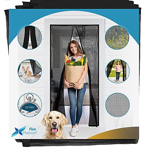 Flux Phenom Fiberglass Magnetic Screen Door - Heavy Duty Mesh Net for Patio and Sliding Doorways