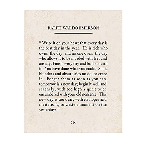 'Write It On Your Heart'- Ralph Waldo Emerson Poem Page Print- 8 x 10' Poetic Wall Art. Distressed Parchment Print-Ready To Frame. Retro Home-Office-Study-School Decor. Great Art Gift for Poetry Fans.
