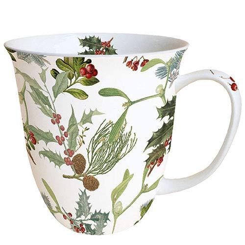 Ambiente Porzellan Tasse ca. 400ml Becher Bone China Mug Für Tee Oder Kaffee Winter Feeling Herbst Winter Weihnachten