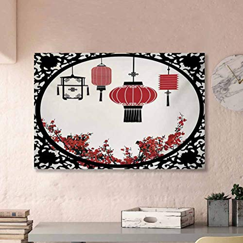 Lantern Living Room Wall Decor Lanterns with Japanese Sakura Cherry Blossom Trees Round Ornate Figure Graphic Bride to be Gifts for her Red Beige Black L16 x H24 Inch