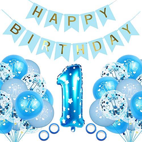 KRIS Globo 1er año Cumpleaños Decoración 1er Cumpleaños Bebe Globos,Decoracion Cumpleaños 1 Año Bebe Niño y Niña (Azul) Globo 1 Año Azul,Globos de Cumpleaños 1 Año (A)