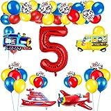 Decoración de globos de cumpleaños de tráfico para niños, globo de número...