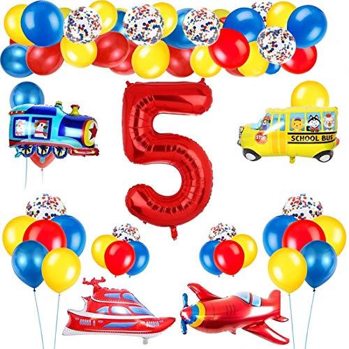 Decoración de globos de cumpleaños de tráfico para niños, globo de número rojo gigante [5], tema de tráfico, decoración de globos de feliz cumpleaños, avión, tren, autobús, yate