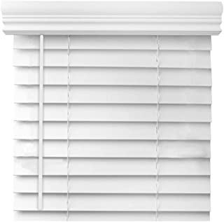 Cordless 2 Inch Faux Wood Blind - Custom Made - White and Printed Real Grain Colors (18 1/8