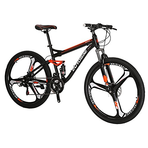 Eurobike S7 Mountain Bike 21 Speed Dual Suspension Mountain Bike 27.5 Inches Mag Wheels Bicycle Black Orange