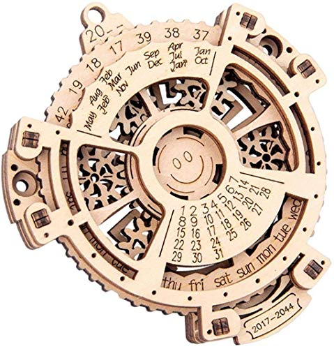 FENGLI Rompecabezas de Calendario perpetuo de Madera 3D, Conjunto de Edificios de Juguetes mecánicos, Kit de Madera para familias Suministros de Kit de Madera, Juegos de Teaser del Cerebro, Juegos de
