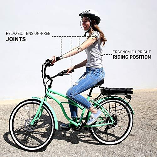 sixthreezero Around The Block Women's Electric Bicycle, 7-Speed Beach Cruiser eBike, 250 Watt Motor, 26' Wheels, Mint Green with Black Seat and Grips