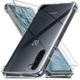 Ferilinso Covers per OnePlus Nord 5G per 2 Pezzi Vetro Temperato, Cover Trasparente per OnePlus Nord...