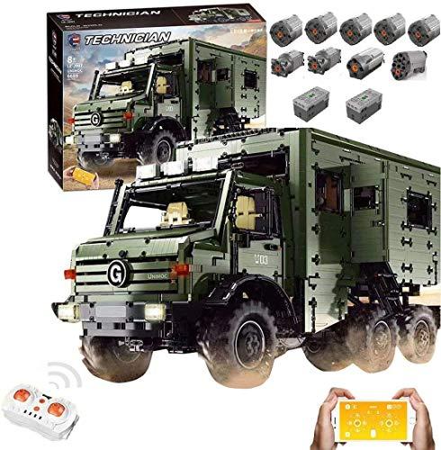 KEAYO Modelo de autocaravana para Unimog U5000, tecnología todoterreno con mando a distancia y 9 motores, bloques de sujeción grandes, compatible con Lego Technic