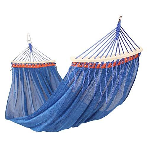TYUIOO Hamaca al Aire Libre Jardín Poliéster Hamaca Portátil Cama de Polo de Madera Anti-Rollover Malla Transpirable Ultra Light Hammock Swing (Color: Azul) (Color : Blue)