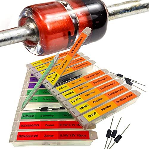 EEEEE 16 Value 250 pcs Assortment Kit Rectifier Fast Recovery Schottky Switching Zener Assorted diodes 1N4001 1N4004 1N4007 1N5404 1N5406 1N5408 RL207 FR107 FR207 UF4007 1N5817 1N5819 1N5822 1N4148