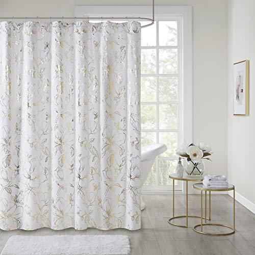 "Intelligent Design Magnolia Metallic Print Luxe Shower Curtain - Trendy Floral Design Soft Modern Bathroom Décor, Machine Washable, Bathtub Fabric Privacy Screen, 72"" x 72"", Gold/White"