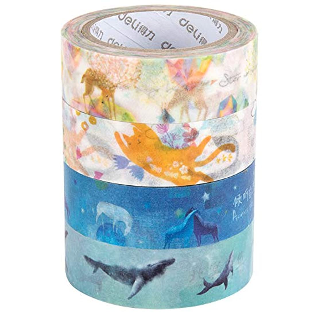 Masking Tape,Craft Multi Colored Masking Tape [4 Rolls Variety- Assorted Color Coded Rolls]- Fun DIY Arts Supplies Kit M-Jump 33FT Washi Tapes for Arts and Crafts, Scrapbook Masking Paper (1packages)
