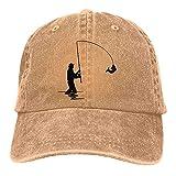 Dyfcnaiehrgrf Fly-Fishing-Silhouette - Gorra de béisbol unisex lavable para mujer, color negro natural