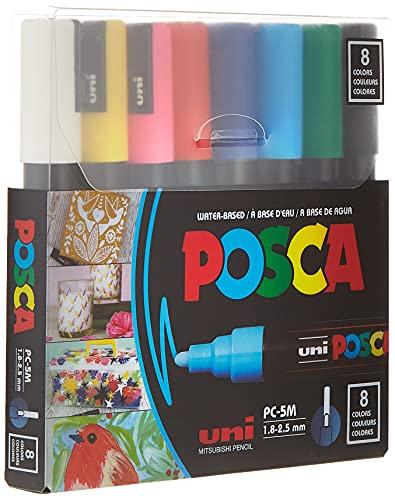 POSCA 8-Color Paint Marker Set, PC-5M Medium