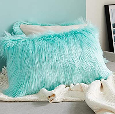 Foindtower Lumbar Fluffy Faux Fur Square Decorative Throw Pillow Cover Plush Soft Cushion Cover Pillowcases for Livingroom Couch Sofa Nursery Home Decor 12x20 Inch (30x50cm) Light Turquoise 1 Piece