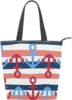 Mnsruu 157856346 Handtasche/Strandtasche/Einkaufstasche, groß, Segeltuch, Weiß und Blau, marineblau, gestreift, niedlich, einfach, nautisch, für den Sommer, Urlaub, Handtasche für Damen, Mädchen