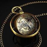 qwertyuio Reloj De Bolsillo con Cadena Vintage Retro Latón Steampunk Estilo De Bola Giratoria Esqueleto De Vidrio Reloj Mecánico Reloj con Collar De Cadena B