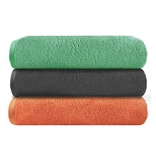 TRIDENT Play (Sólida Multicolor) Certificado Gots, algodón orgánico, Juego de Toallas de Gimnasio de 3 Piezas, 450 gsm, súper Suave, Altamente Absorbente, de Secado rápido, Gimnasio, Multiusos