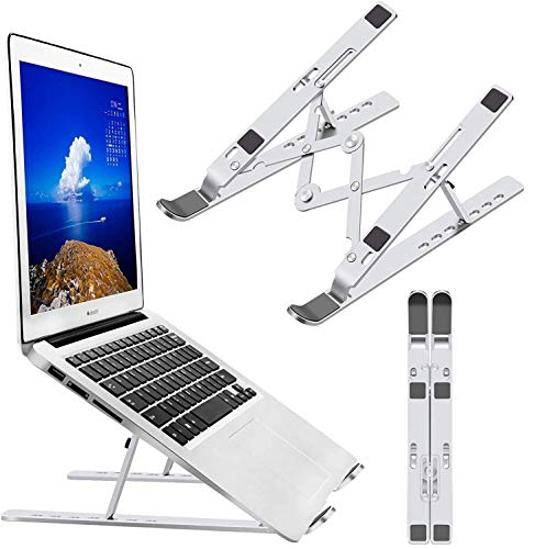GROSSē Laptop Stand Holder Foldable Portable Adjustable Laptop Riser with Carry Bag,Aluminum Ventilated Desktop Ergonomic Space-save Notebook Tray Mount for iM ac/Laptop & 11-17' Tablet (Silver)