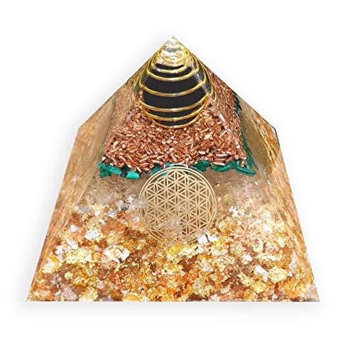 emotion & design Orgonit Pyramide - mit Schungitkugel, Edelsteinen, Kupfer, Messing, Silber und Blume des Lebens