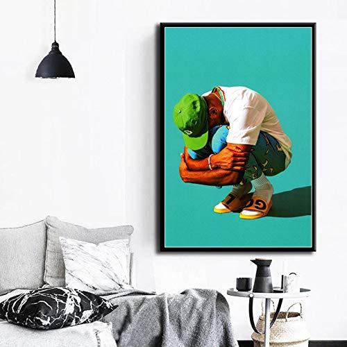 YuanMinglu Blumenmädchen Hip-Hop Rap Musik Rap Musik Star Mode Modell Kunstdruck Leinwand Poster Wand Wohnkultur rahmenlose Malerei 40X50cm