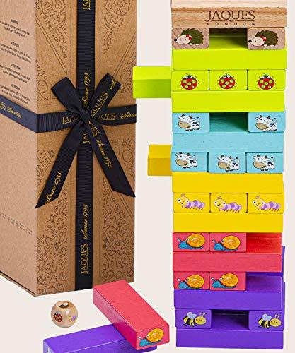 Jaques of London - Giocattoli Animali Tumble Tower - Blocchi di Legno Animal Game for Girls Boys Age 3 4 Years Old - Giocattolo educativo - Giochi per Bambini dal 1795