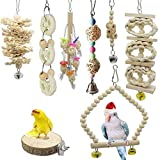 SHINYLYL 8 Packs Bird Toy,Bird Parrot Swing Chewing Toys Birdcage Stands,Wood Hanging Bell Bird Cage Toys for Parrots, Parakeets, Cockatiels, Conures, Macaws, Love Birds, Finches
