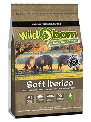 Wildborn Soft IBERICO 1,5 kg getreidefreies Hundefutter mit 75% frischem Iberico Fleisch | Halbfeuchtes Trockenfutter für Hunde | getreidefreie Rezeptur aus Deutschland