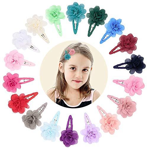 VCOSTORE 20 Stk Chiffon Blumen Haarspangen, bunte Blumen Haarnadel Metall Snap Haarspangen für Kinder Mädchen Haarschmuck