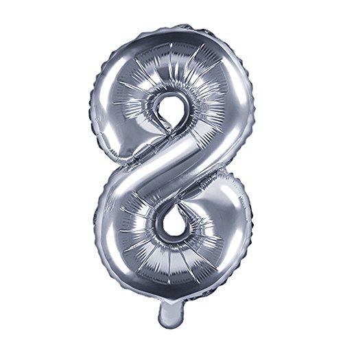 DekoHaus Folienballons Buchstaben / Zahlen Höhe 35 cm Farben: Gold oder Silber (8, Silber)
